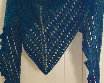 Scarf shawl dark green and Blue Navy knitted