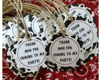 12 Cow Print Barnyard Favor Tags