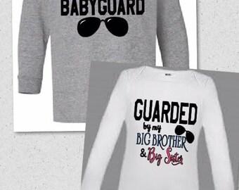 2 Piece Set** Big Brother or Big Sister BABYguard tshirt & onesie bodyguard
