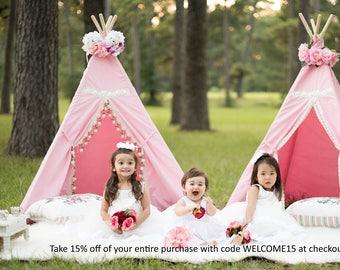 Kids Teepee, teepee, girls teepee, Teepee tent, Canvas Play tent ,nursery decor, pink Teepee, play house