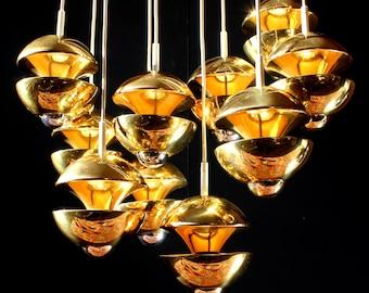 IF- DESIGN AWARD 1972 Pair Kaiser Marked Brass Sputnik Chandeliers Klaus Hempel