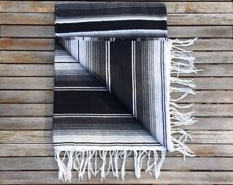 SALE* Mexican Blanket Serape - Black and white