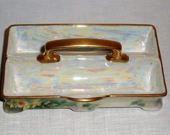 M Z Austria Divided Little Porcelain Tray.  Hand Painted Floral Desigin.