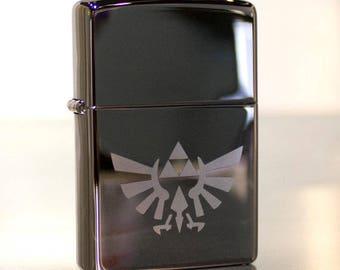 Chrome Legend of Zelda Triforce Hylian Crest Windproof Oil Lighter