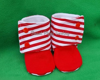 Candy Cane Striped Booties with Cuff