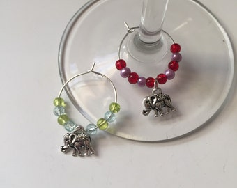 Elephant Wine Glass Charm Set