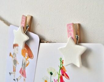 Pink/blue washi clothespins star, babyshower decor, decorated clothespins, mini clothespins, washitape baby, baby clothespins, blue or pink