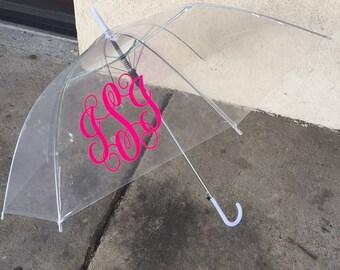 Monogrammed clear umbrellas
