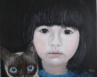 "Asian Girl Child Pet Portrait with Siamese Cat Blue Eyes SpiritbyKaiden 9"" x 12"" Original Acrylic Painting"