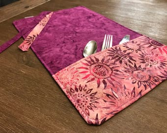 BATIK / rolled napkin, Pocket tools, portable placemat, for school, for work, doily for lunch box!