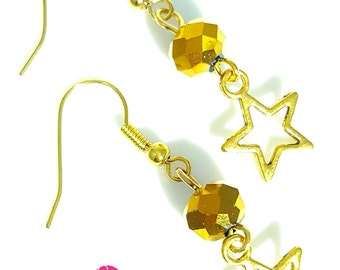 Beautiful handmade gold faceted bead gold plated star earrings