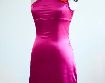 Pink dress in satin