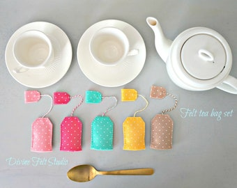 New Felt Tea Bag set -Felt Food-Pretend Play Tea Party
