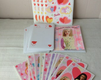 Lot of postcards with envelopes and stickers, Barbie Valentine's, new, in good condition