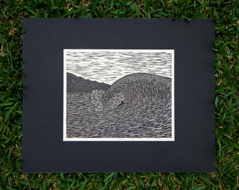Linoleum Cut Original Print  'One in Seven' - 2016, Original, Surf Art, Hawaii, Wave, Nature, Printmaking, Surfer, Aloha