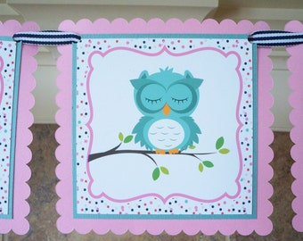 Slumber Party Banner, Night Owl Banner, Owl Banner, Birthday Party Banner, Sleeopover Party
