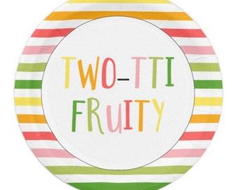 Tutti Fruitti Dessert Plate -Two-tti Fruity Cake Plate -Tutti Frutti Fruity Plate - Tutti Frutti Birthday Party - Tutti Fruitti - SET OF 8