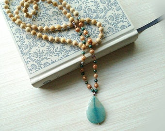 Teal and Gold Beaded Mala Necklace, Agate stone, Knotted Jewelry, 108 Beads, Prayer necklace