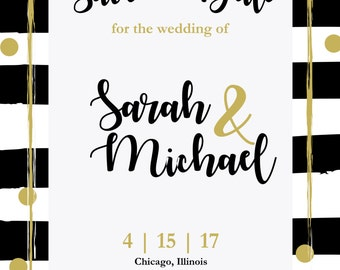 Black and Gold Wedding Save the Date