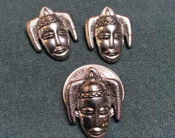 American made pewter African head charms - 3 pieces - #832