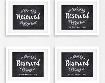 DIY PRINTABLE Rustic Chalkboard Reserved Sign Set of 4 | Instant Download Wedding Ceremony Reception Sign | Rustic Wedding WChalk01