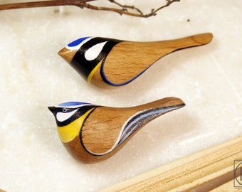 FREE SHIPPING Wood brooch  Blue tit - Bird Pin - bird brooch - bird jewelry- Wood Crafts Hanging Bird- Handmade - Gift Australian Birds