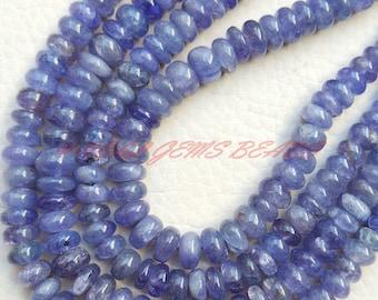 "Natural Tanzanite Rondelle, Tanzanite Smooth Rondelle Beads, 5-10 MM Size, 18"" Strand, Loose Gemstone Roundel Beads"
