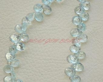 8 Inches Strand, Natural Aquamarine Briolettes, Aquamarine Faceted Pear Briolettes, 8 MM, Loose Gemstone Beads, Aquamarine Beads