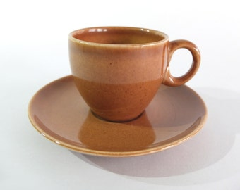 Russel Wright SUPER RARE Iroquois AD After Dinner Demitasse Coffee Cups and Saucers in Ripe Apricot! 2 available