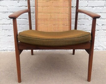 Mid Century Modern Dux Danish Cane Back Chair