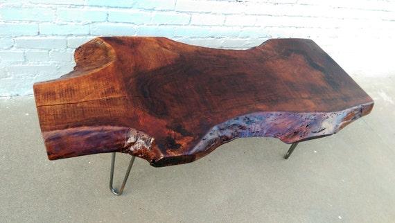 Walnut slab hairpin leg coffee table