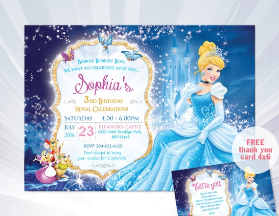 princess cinderella birthday invitation princess cinderella – Cinderella Birthday Card
