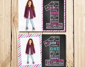 1st Birthday Invitation Girl, Сhalkboard, First Birthday Invitation, Girl Birthday Invitation, Pink, Purple, Chalkboard, with Picture