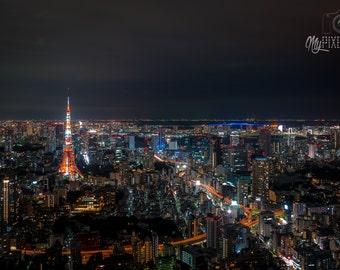 Tokyo Skyline Print, Large Canvas Photo, Living Room Decor, Scenic Wallpaper, Tokyo Night Photo, Tokyo Tower Canvas, MyPixelDiaries