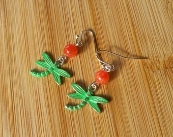 Hand Painted Dragonfly Earrings