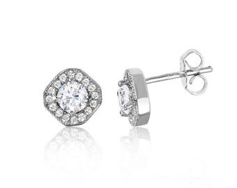 Gorgeous Sterling Silver Rhodium Plated Round CZ with a Cushion Halo Stud Earrings | Classy CZ Halo Stud Earrings | Bridal Earrings