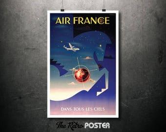 Air France, Dans Tous Les Ciels Vintage Travel Poster, Wanderlust, Travel Prints, Travel gift, Travel Decor, Travel Poster Prints, Tourism