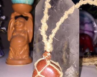 Goldstone Macrame Hemp Necklace
