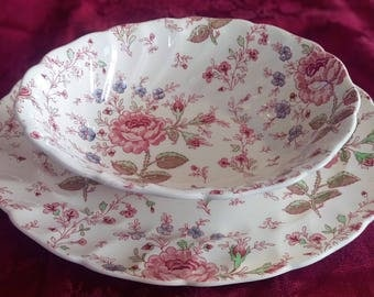 Vintage Rose Chintz Serving Bowl & Platter Made in England by Johnson Brothers