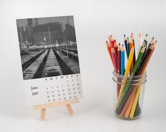 unique desk calendar, double exposure photography calendar with easel, surreal photo calendar, unique photography gift, black and white