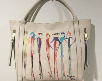 "Franco Mondini-Ruiz ""the Party of 7"" large bone colored tote handbag"