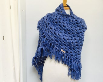Lavender-Jeans Triangle Shawl