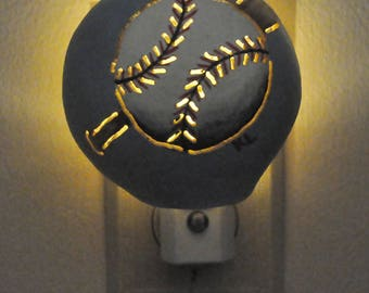 Night Light Cover, Baseball Design, Baseball Theme, Baseball and Bat, Child's Room, Nursery, Playroom, Standard Night Light, Real Gourd Art