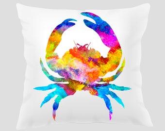 Watercolor Crab 2 Throw Pillow, Watercolor Crab Pillow, Pillow Cover, Accent Pillow, Nursery Decor, Kids Room Decor