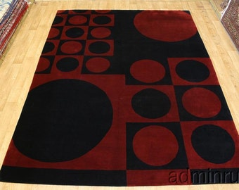 Hand Knotted Circle Contempo Red Black Tibetan Oriental Area Rug Carpet 9X12