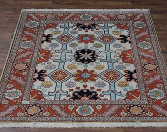 Plush Square Ivory Ziegler Sultanabad Wool Persian Oriental Area Rug Carpet 7X7