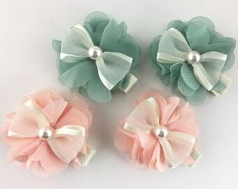 Chiffon flower princess bow w/pearl