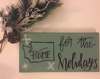 Home for the Holidays : Custom State Canvas 7x14in