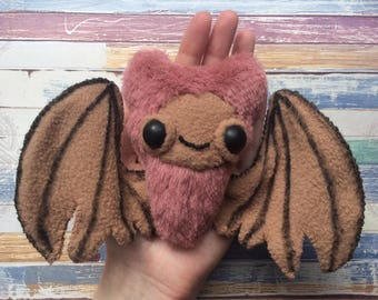 Plush toys bat with posable wings