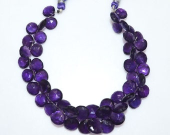 """Natural Amethyst Faceted Heart Shape Beads - Amethyst Heart Shape Briolette , Amethyst Briolette , 9x9 - 11x11 mm , 8"""" , BL2008"""